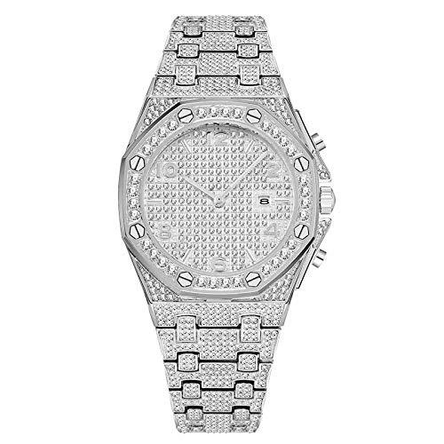 PLKNVT Neue Hochwertige Große Frauen Uhren Top-Marke Luxusuhr Frauen Trending Einzigartige Diamant Uhr 18 Karat Gold Quarz Iced Out Bokep AR Arabisch UhrV296-2