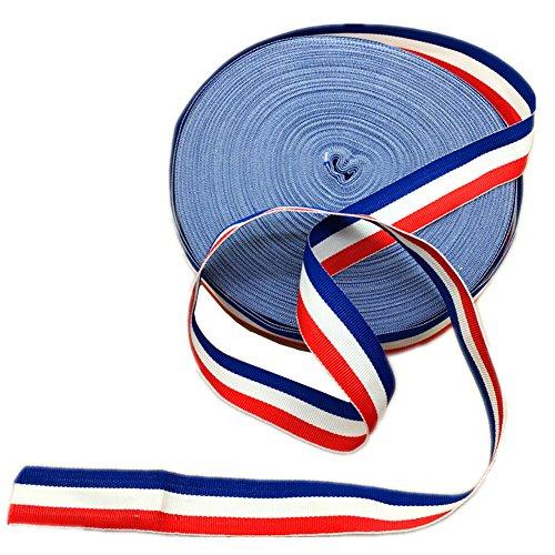 45Meter langes rot-weiß-blau gestreiftes Ripsband, US-Flagge, patriotisches Band zum Herstellen von Accessoires und Verpacken von Geschenken.