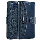 Huawei Honor 9 Hülle, IDOOLS Leder Handyhülle mit Kartensteckplatz, Magnetisch Flip Brieftasche, Handyständer Funktion - Blau