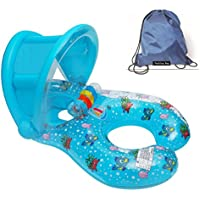 Flotadores hinchables para dos personas (mamá y bebé), piscina hinchable retráctil y extraíble, flotador de piscina para bebé, asiento flotante para bebé de seguridad
