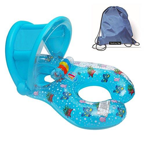 JCT Mills aufblasbar schwimmt Dual Person Mama und Baby, aufblasbares Pool Roll-abnehmbaren Float Schwimmring Baby Sitz float Ring Baby Sicherheit Float Sitz Pool Spielzeug mit Sonnendach, blau