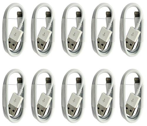 IPRIME 10x 1 Meter USB Kabel Ladekabel Datenkabel kompatibel mit iPhone 7 Plus, 6 6s Plus, 5/5s/5c, iPad Pro, 4, Air 1/2, Mini 1-4 in Weiß - 1m (In Mini-ladegerät 1 3 Ipad)