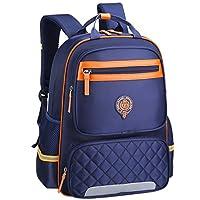 Uniuooi Primary School Backpack Book Bag for Boys Girls 8-12 Years Old Waterproof Nylon Satchel Kids Travel Rucksack Large Navy