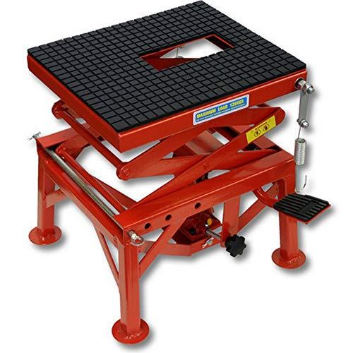 Cruizer - Cavalletto centrale idraulico alza moto cross trial enduro in metallo di colore rosso per manutenzione, portata massima 135 kg