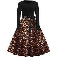 beautyjourney Vestido de Leopardo de Manga Larga Vintage de Leopardo para Mujer Elegante Vestido de Noche de una línea Vestido de cóctel Ajustado con Cuello Redondo y Manga Larga