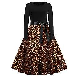 MCYs Damen Vintage 50er Leopard Print Langarm Abend Party Swing Kleid Abendkleider Party Cocktailkleid Elegant