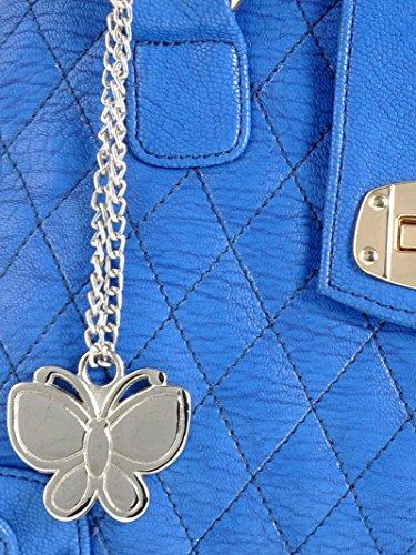 Butterflies Kunstleder Schultertasche Entwerferdamen Beiläufige Handtasche Blau