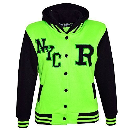 Kinder Mädchen Jungen R Mode NYC Baseball Jacke Mit Kapuze Uni Kapuzenpulli Alter 2-13 Jahre - Neongrün, 11-12 Years