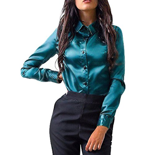 Overdose Women Blouse Long Sleeve Solid Work Shirt