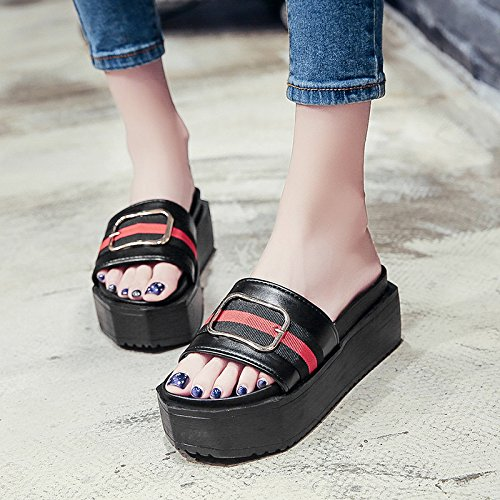 RUGAI-UE Donne pantofole estate fondo spesso pantofole di moda piatto High-Heeled antiscivolo per scarpe Black