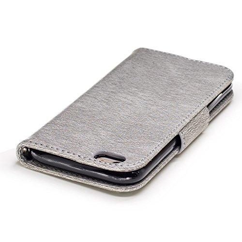 """Crisant 3D Kettensägen-Bär Drucken Design schutzhülle für Apple iPhone 6 Plus / 6S Plus 5.5"""" (5,5''),PU Leder Wallet Handytasche Flip Case Cover Etui Schutz Tasche mit Integrierten Card Kartensteckplä grau"""