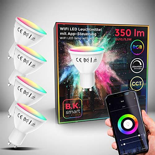 B.K.Licht I 4er Set LED GU10 Wi-Fi Lampe I 5,5 Watt I 350 Lumen I RGB I CCT I Dimmbar I App- Sprachsteuerung Alexa Google Home I iOS & Android I WLAN Glühbirne I Smartes Leuchtmittel