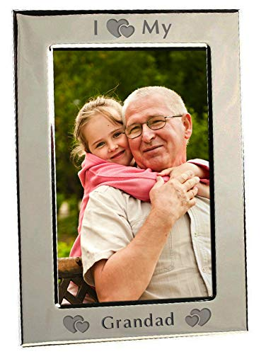 I Heart My Grandad Love Silver Plated 6x4 Picture Photo Frame Photoframe Gifts From Grandson Granddaughter For Novelty Christmas Fathers Day Present Birthday Idea