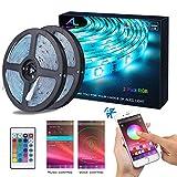 Striscia LED RGB 10M Musica, ALED LIGHT LED Strip Bluetooth RGB Striscia Luci, IP65 Impermeabile 12V Striscia, Bluetooth + 24 Tasti Telecomando, Nastri Led Smartphone Android e IOS Controllato da APP