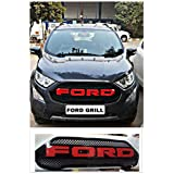 PR Front Radiator Grille for Ford Ecosport 2018 Front Grill - Alpha Letters- Red (Compatible with only 2018 Model)