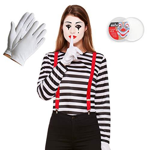 Mixed French Mime Damen-Oberteil + Hosenträger + Handschuhe + Gesichtsbemalung, 4-teiliges Set