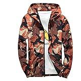 Xmiral Mäntel Herren Mit Kapuze Softshell Camouflage Wasserdichte Winddichte dünne Jacke (L,Orange)