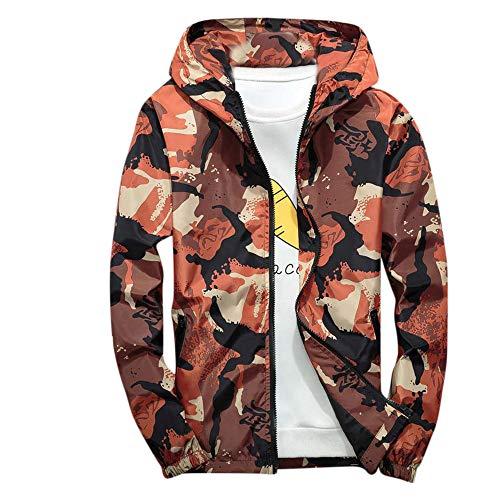 Xmiral Mäntel Herren Mit Kapuze Softshell Camouflage Wasserdichte Winddichte dünne Jacke (XXL,Orange)