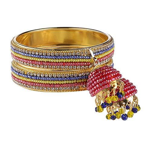 Efulgenz indisches Bollywood traditionelles vergoldetes Perlen-Stein Hochzeit Jhumka Quaste Armband Armreif Set Schmuck (2 Stück) (Indische Kostüm Beutel)