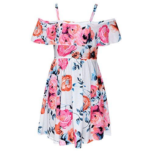 A2Z 4 Kids® Mädchen Skater Kleid Kinder Blumen Aufdruck - Off Shoulder Dress Pink Floral 7-8