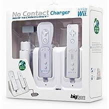 Pack 2 batteries + 2 capots et un double socle de charge + 1 câble Y pour adaptateur secteur Wii utilisant une nouvelle technologie sans contacteur