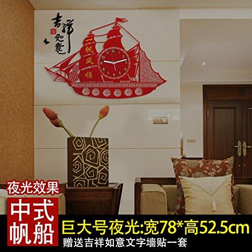 Y-Hui Wanduhr Wohnzimmer Schlafzimmer Uhren Mute Quarzuhr Segeluhren Schlafzimmer Tisch, 26 Zoll, der größten Der Dreidimensionale 60 * 40 cm Wandhalterung