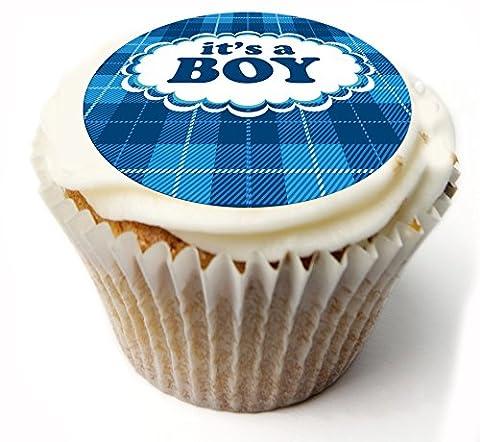 c'est un garçon. nouveau bébé.New Baby Boy Dessus de gâteau. x20 toppers petit gâteau comestible. Personnalisé ou non personnalisé. 1.75 pouces rond cupcake topper comestible. Gâteau de riz ou de glaçage, idéal pour le gâteau d'anniversaire, gâteau de Noël etc