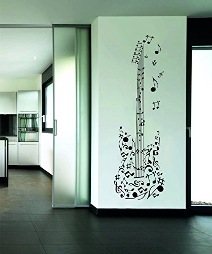 Rawpockets Decal 'Musical Guitar' (Material- PVC Vinyl, Wall Coverage Area - Height 33cm X Width 105cm) ( Pack of 1 ) Wall Sticker  available at amazon for Rs.249