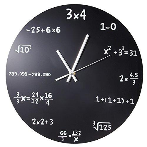 Ducomi® newton - orologio parete moderno in vetro con formule matematiche 35 cm - orologio design moderno e unico ideale per casa, scuola e ufficio - risolvi l'equazione per scoprire l'ora
