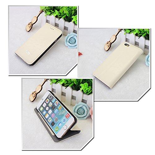 Pdncase iPhone 6 Leder Tasche Case Hülle Wallet Schutzhülle für iPhone 6 Farbe Rose Weiß