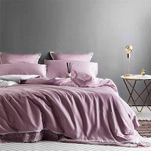 HBHUBO Bettwäsche,Ägyptische Baumwolle,Doppelseitige Zweifarbige Durchbrochene Spitze Vierteiliges Set,Purple,2.0m -