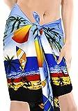 La Leela Bademode Bikini Schalfrauen Swimwear Wrap Mini Pareo Sarong Kurzen Mini Hälfte Blau