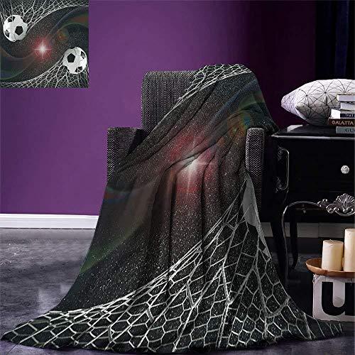 HGTZ Jugendzimmer-Raum-Dekor-Wurf-Fußball-Bälle-Tor-Match-Erfolgskonzept im Weltraum-Gewinner-Ruhm-Thema warme Microfiber-Decke