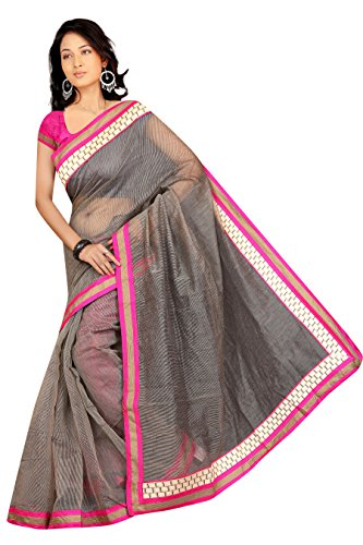 Adroit Management Brown Color SuperNet Saree (1020_Brown)