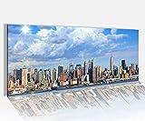 Acrylglasbild 100x40cm Manhattan Skyline New York USA Acrylbild Glasbild Acrylglas Acrylglasbilder 14A1448, Acrylglas Größe1:100cmx40cm