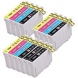 PerfectPrint - 14 (3 juegos de 4 y 2 Negro) Capacidad Epson Cartuchos de tinta de alta compatibles para Epson Stylus SX230 SX235W SX420W SX425W SX435W SX440 SX445W SX525WD SX535WD SX620FW y Epson Stylus Office BX305F BX305FW B42WD BX305FW Plus BX320FW BX525WD BX535WD BX625FWD BX635FWD Impr