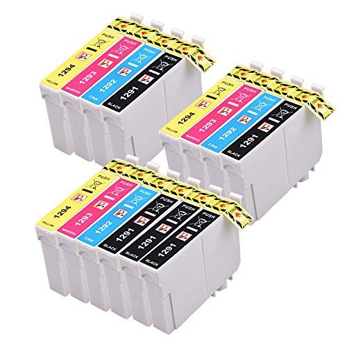 PerfectPrint Kompatibel Tinte Patrone Ersetzen für Epson Stylus SX-230 235W 420W 425W 435W 440 445W 525WD 535WD 620FW Stylus Office B42WD BX-305F 305FW T1295 (Schwarz/Cyan/Magenta/Gelb, 14-pack) -