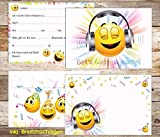 10-er-Set Smiley-Einladungen mit Smiley-Umschlägen: