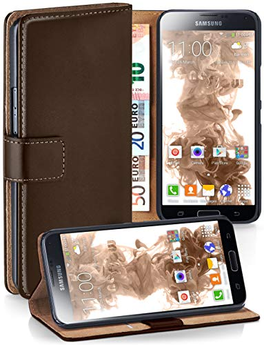 moex Booklet mit Flip Funktion [360 Grad Voll-Schutz] für Samsung Galaxy S5 Mini | Geldfach und Kartenfach + Stand-Funktion und Magnet-Verschluss, Dunkel-Braun