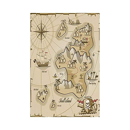 gthytjhv Pirate Hand Drawn Map of Treasure Island Sea Adventure Ocean Navigation Compass Light Brown Sand Brown House Garden Family Event Decoration