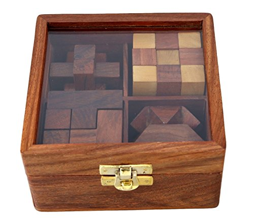 Shalinindia 4-in-One Wooden Puzzle Games Set 3D Puzzles for Teens and Adults