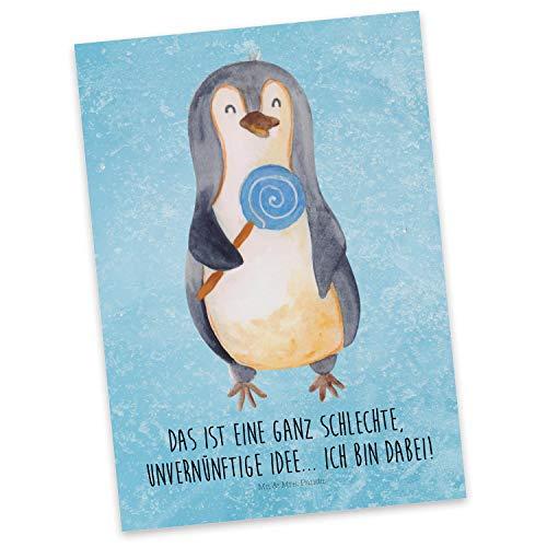 Mr. & Mrs. Panda Karte, Einladung, Postkarte Pinguin Lolli mit Spruch - Farbe Eisblau