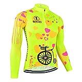 BXIO Maglia Ciclismo Donna Manica Lunga Maglia Traspirante Estate Anti-Rughe Riflettenti polarizzati Abbigliamento Anti Bicicletta (Fluo Yellow(125), M)