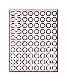 Lindner 2980 Münzenbox mit 80 runden Vertiefungen für Münzen mit Ø 22,25 mm-Rauchglas / dunkelrote Einlage