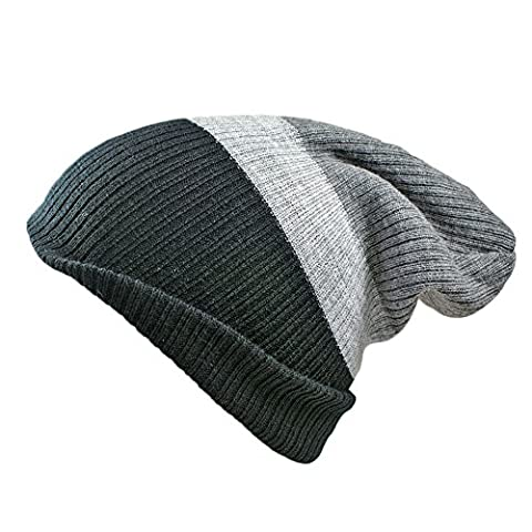 Unisex Mens Ladies 4 in 1 Fully Reversible Striped Slouch beanie skull cap. 4 different looks from 1