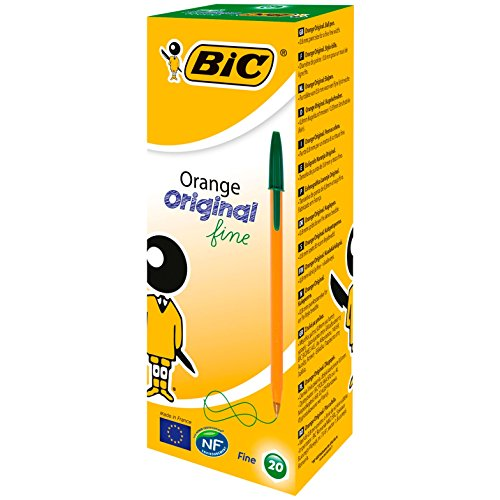 BIC Orange Fine - Bolígrafo con tapa (trazo de 0,35 mm, 20 unidades), color verde