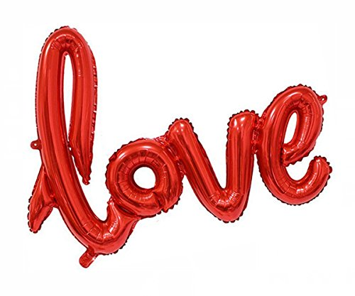 Cotigo- 2pcs Love Amor balón Hinchable Guirnalda de Letras y Brillantes Hoja de Globos de 108cm*64cm Globo de Helio decoración ,Color Rojo y Fucsia