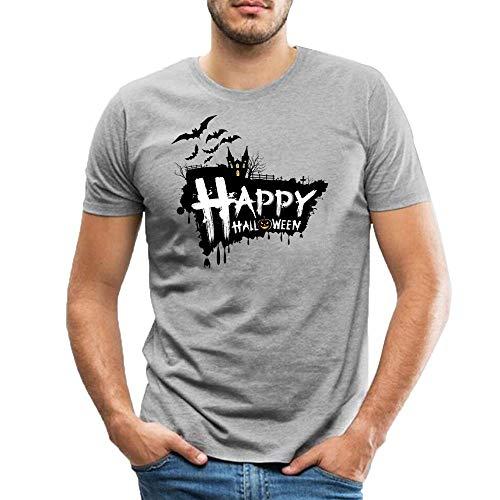 60fd05a6a6 Men s Casual Cotton Gray Shirts Halloween Moon Night Castle Black Bat  Pattern Short Sleeve Round Neck