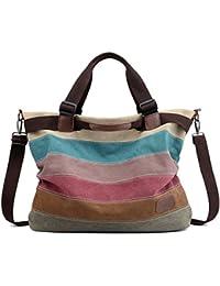 05cbfbd8b9669 Defeng Canvas Schultertasche Umhängetasche Bunte Streifen Handtasche  Messenger Damenhandtasche