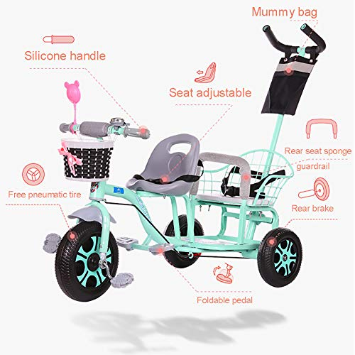 CHEERALL Children'S Double Tricycle Bicycle,Twin Baby Stroller With Folding Pedal,Summer Baby Pushchair Double Seat Buggy for Kids Age 1-6 Years Old,Pink  CHEERALL
